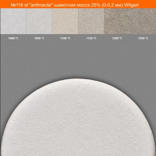 """№116 sf """"anthracite"""", шамотная масса 25% (0-0,2 мм) Witgert"""