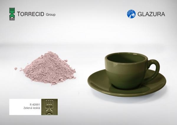R 40991  Зелёная глянцевая высокотемпературная глазурь GLAZURA